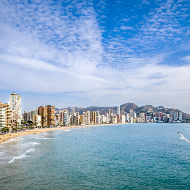 """A high angle view of Benidorm bay."" stock image"
