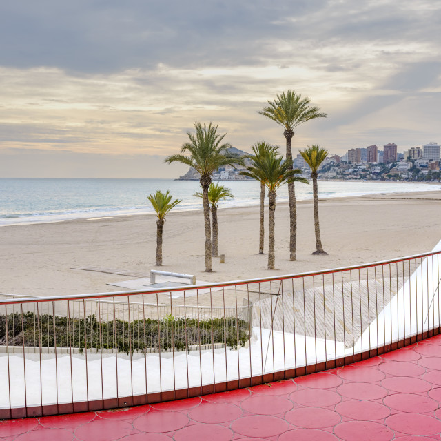 """The red promenade at Benidorm beach."" stock image"