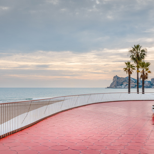 """Benidorm promenade at dusk."" stock image"