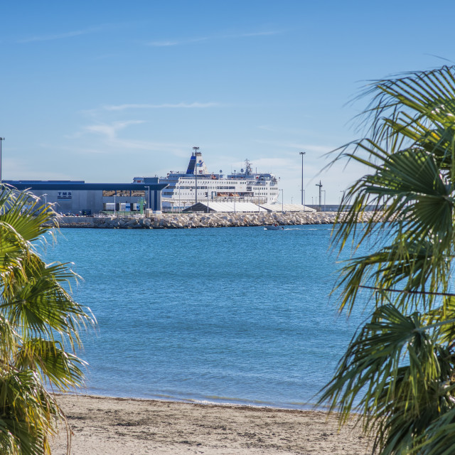 """View of ferry in Alicante port."" stock image"