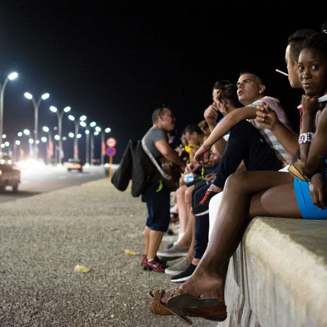 """Havana shore at night"" stock image"