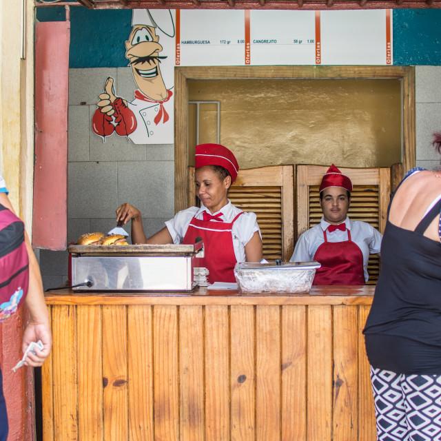 """Selling chicken in Havana"" stock image"
