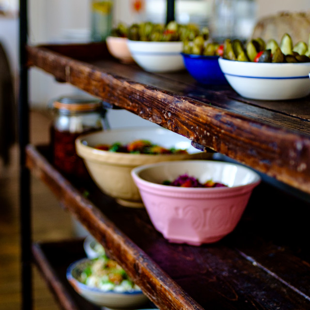 """Food on a rustic service trolly"" stock image"