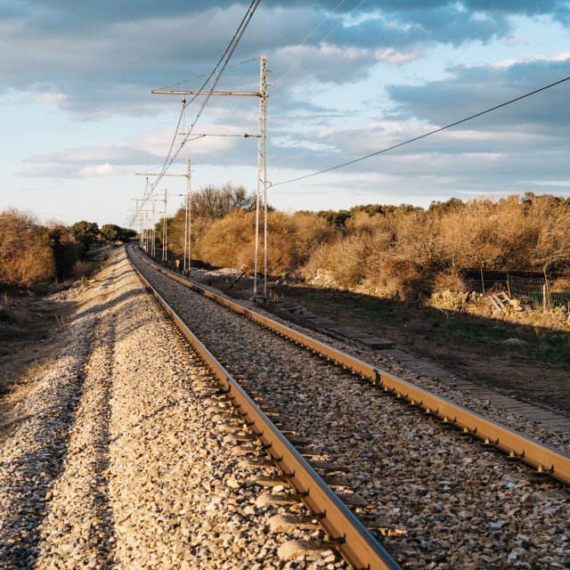 """Railroad tracks in countryside"" stock image"