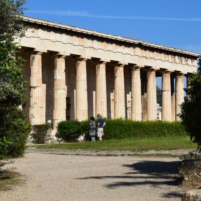"""people temple of hephaestus ruins"" stock image"