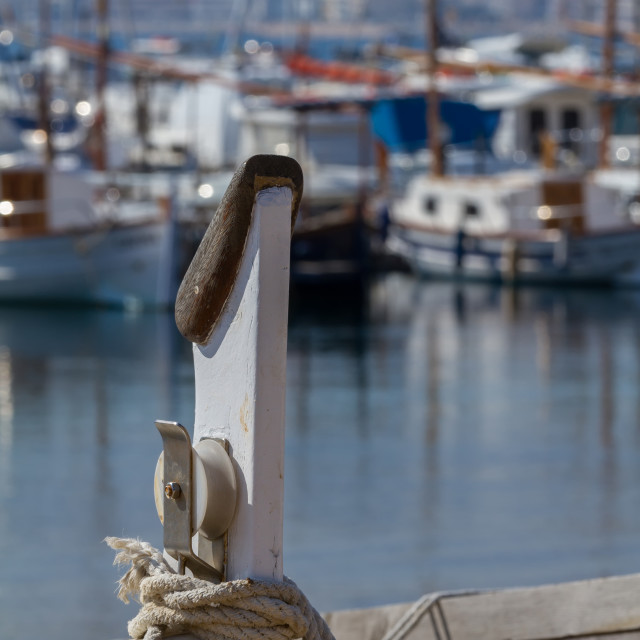 """Nice traditional Spanish boats on the harbor Palamos in Costa Brava"" stock image"