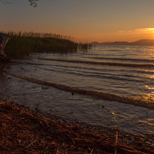 """Beautiful sunrise over the lake Balaton of Hungary"" stock image"