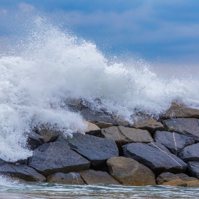 """Beautiful big waves on the Spanish mediterranean ocean"" stock image"
