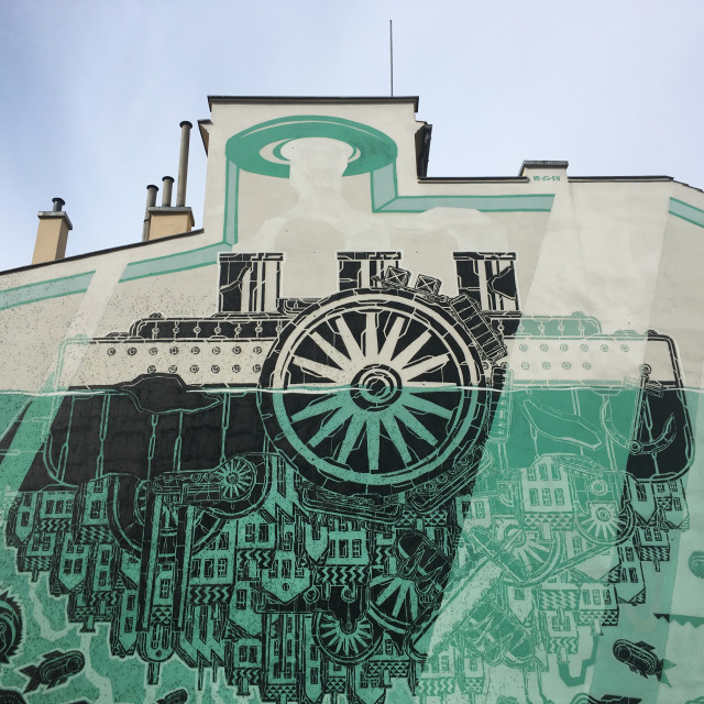 """""""Krakow: M-City Mural"""" stock image"""