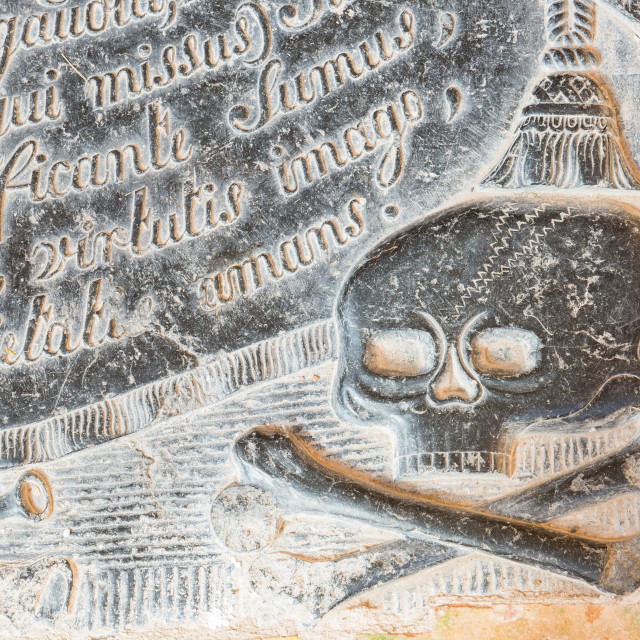 """""""Skull on a Gravestone with Text"""" stock image"""