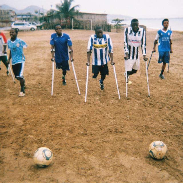 """The Single Leg Amputee Sports Association football team"" stock image"