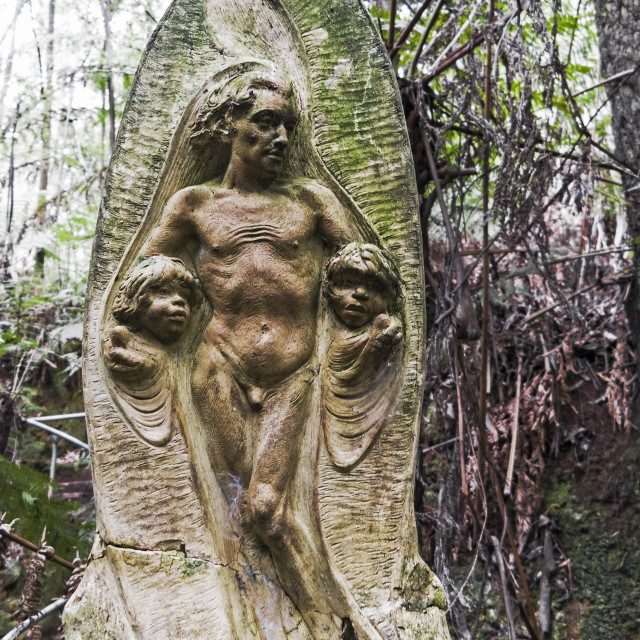 """""""sculptures at the William Ricketts sanctuary"""" stock image"""