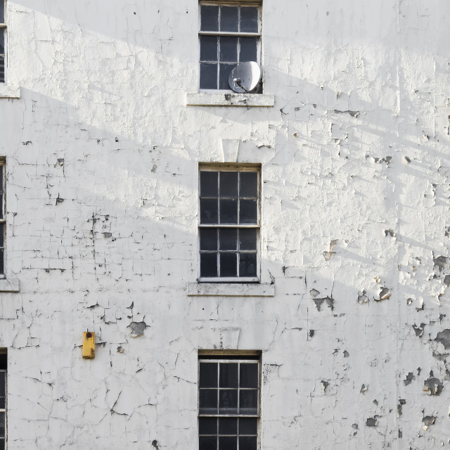 """""""Dilapidated building with flaking paint, UK"""" stock image"""