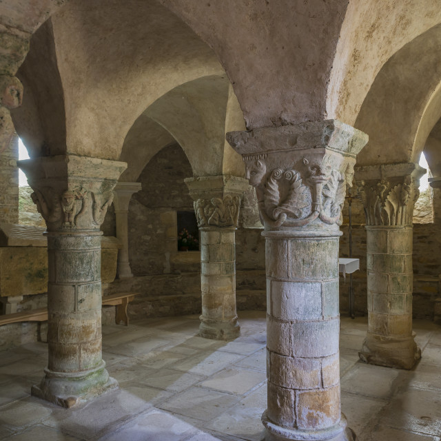 """Crypt of Church Parise le Chatel"" stock image"