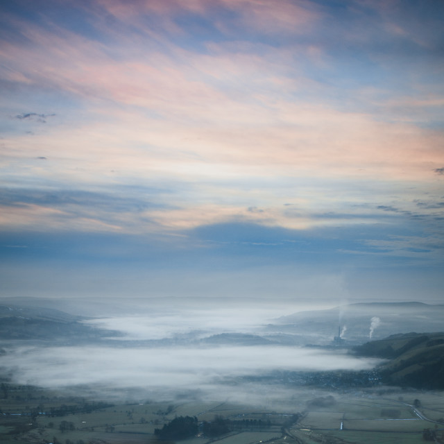 """""""Delicate Sky over Misty Valley"""" stock image"""