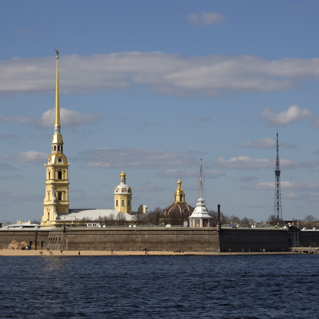 """""""Panorama of St. Petersburg. View of the Peter and Paul Fortress."""" stock image"""