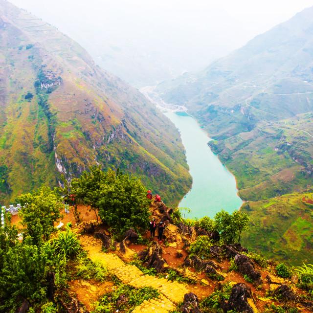 """Ma Pi Leng mountain pass in Hagiang, Vietnam."" stock image"