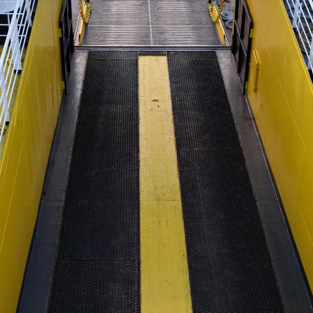 """ferry boat bow visor door hatch"" stock image"