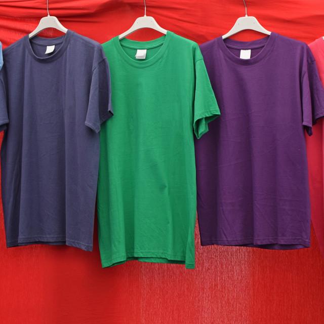 """short sleeve cotton t-shirts"" stock image"
