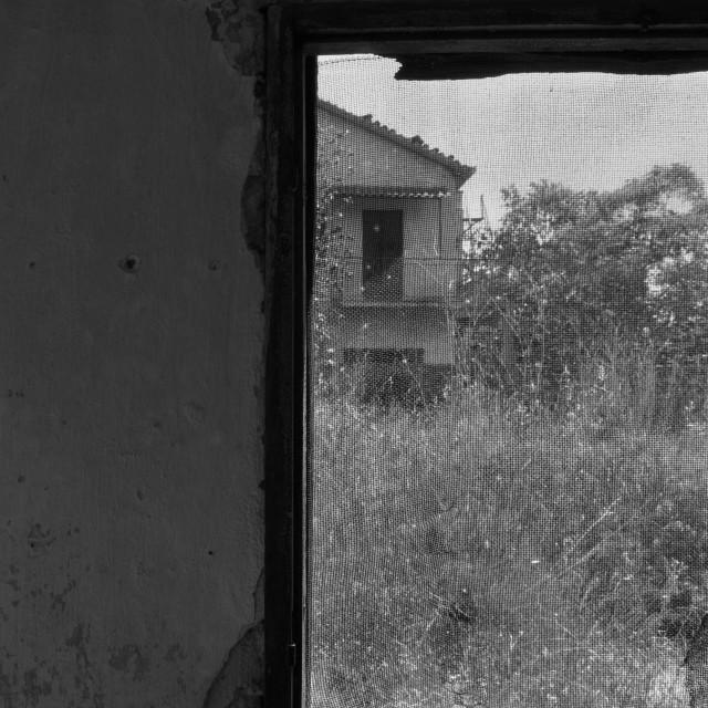 """""""old crooked window abandoned house"""" stock image"""