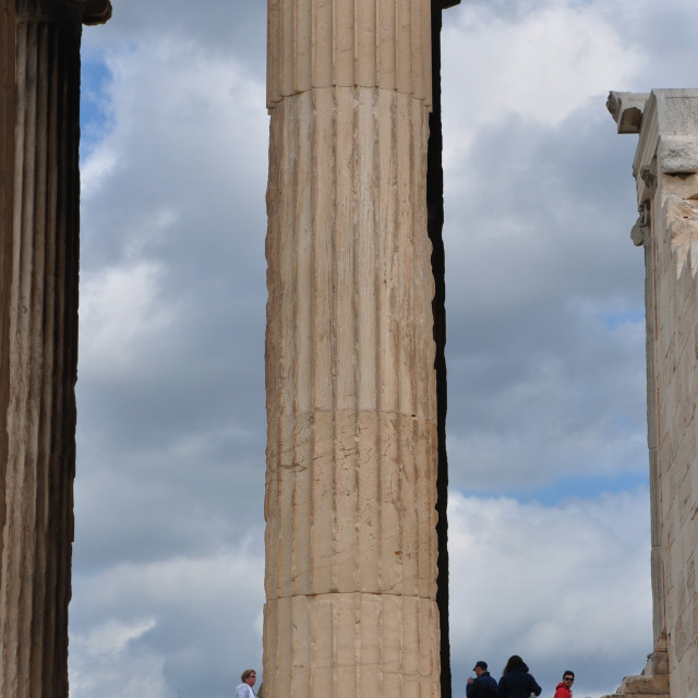 """people and ancient marble column"" stock image"