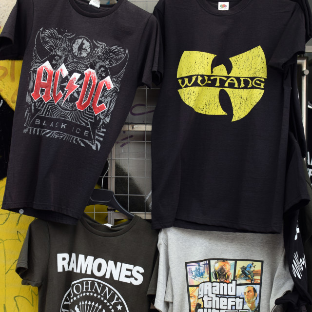 """rock and hip hop music t-shirts"" stock image"