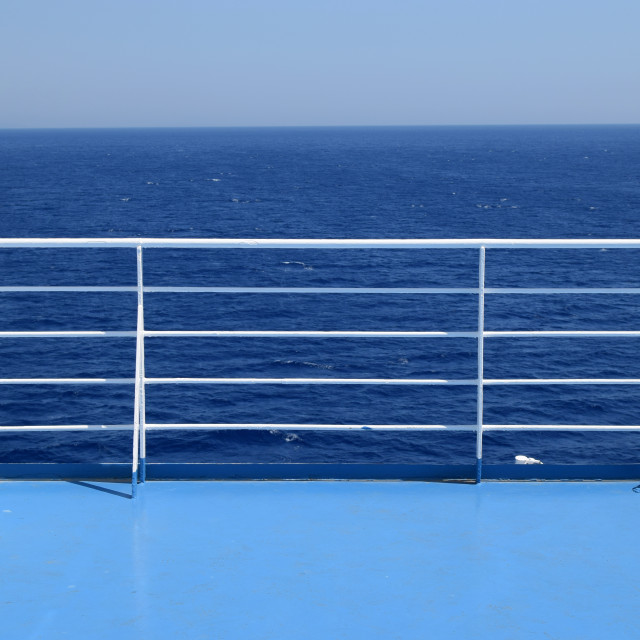 """ship railings blue sea"" stock image"