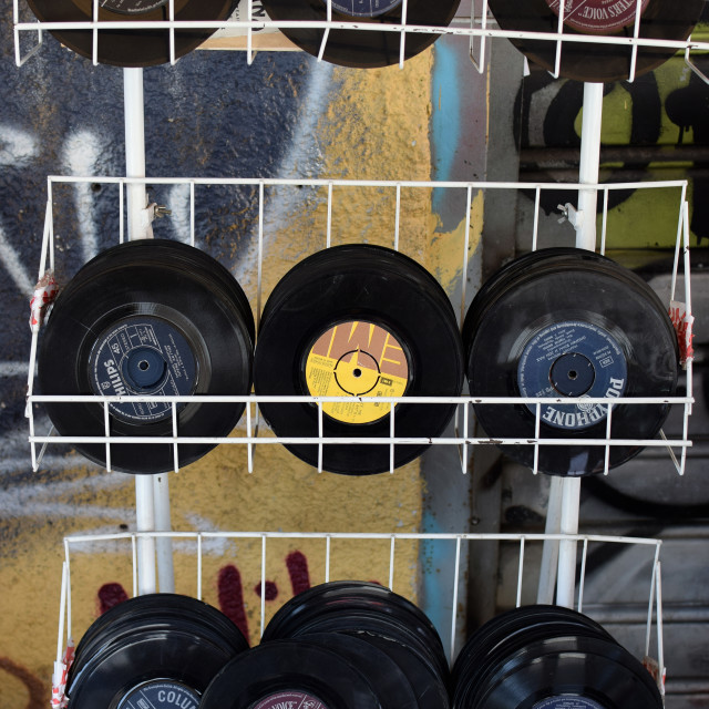 """used records vinyl singles"" stock image"