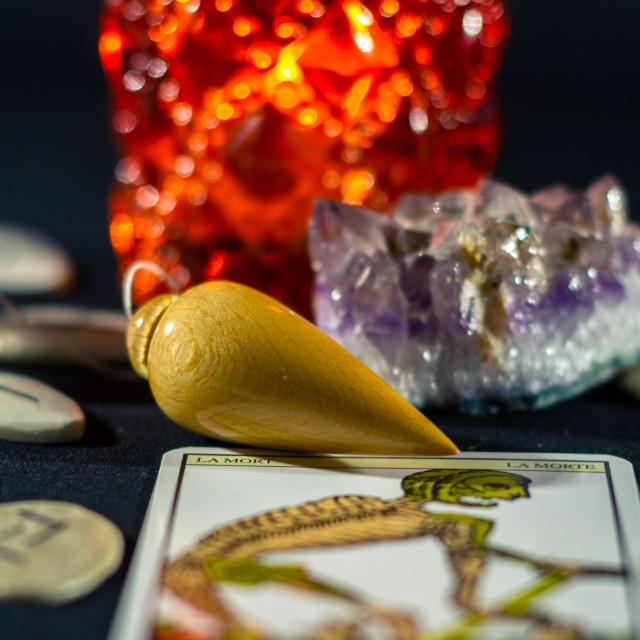 """Dowsing Pendulum & Crystals"" stock image"