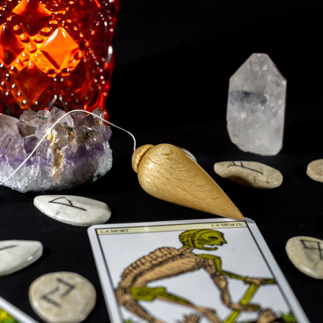 """Dowsing Pendulum with Crystals"" stock image"