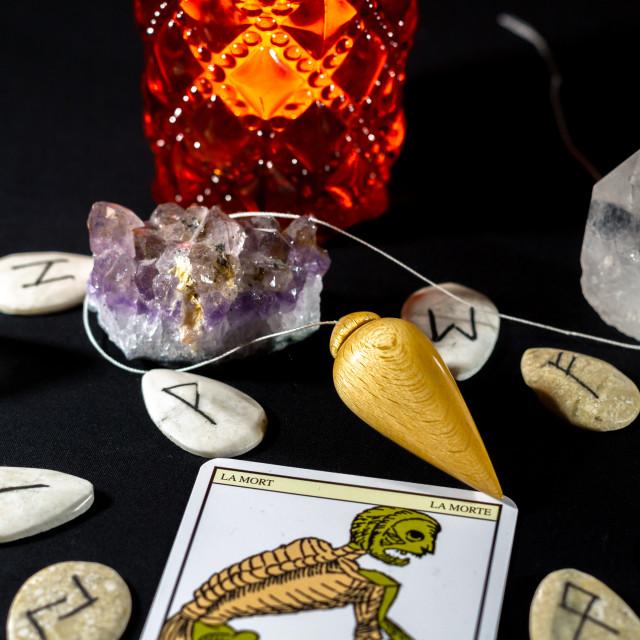 """Dowsing Pendulum with Amethyst & Quartz"" stock image"