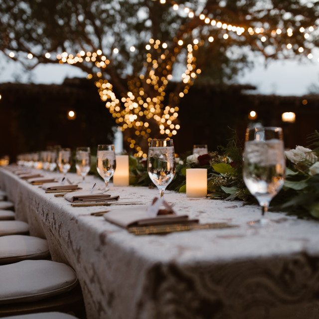 """Dreamy Outdoor Dinner Setting"" stock image"