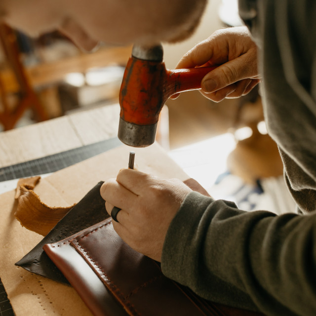 """Craftsman Working in Studio"" stock image"