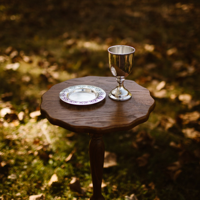 """""""Silver Communion Goblet Cup and Plate"""" stock image"""
