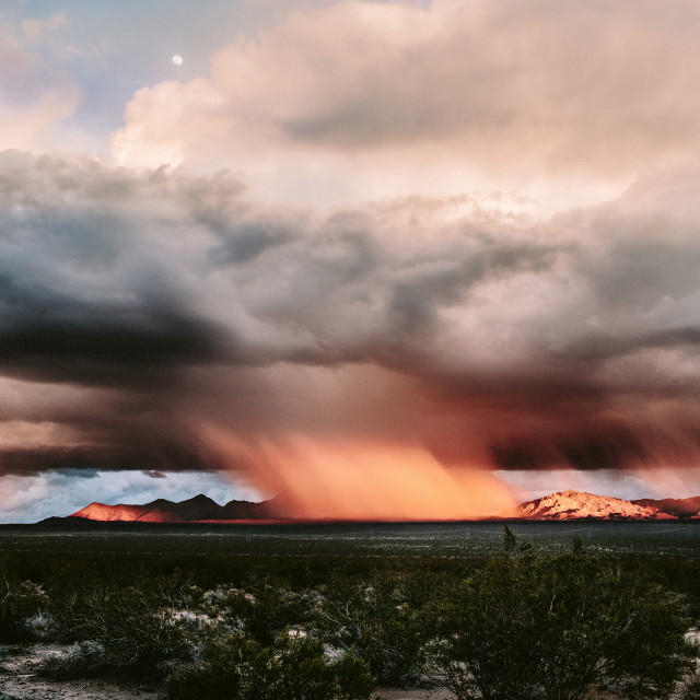 """Sunset Pink Painted Rain Storm"" stock image"