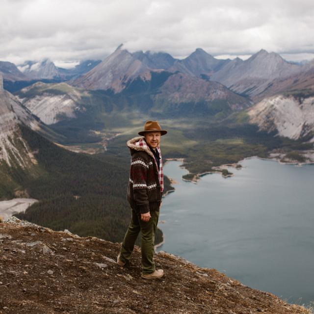"""Man Hiking on a Mountain Ridge"" stock image"