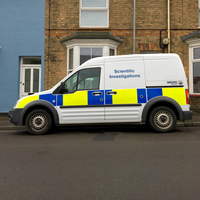 """Police Scientific Investigations van"" stock image"