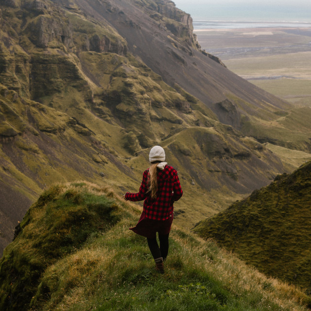 """Mountain Hiker in Iceland"" stock image"