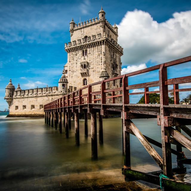 """""""Torre de Belém, an imperious 15th Century Byzantine-style fortress"""" stock image"""