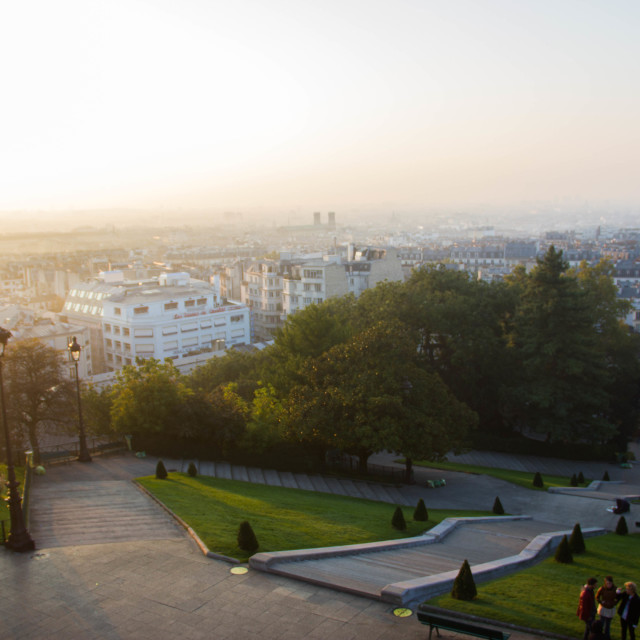 """A view of Montmartre in sunrise"" stock image"