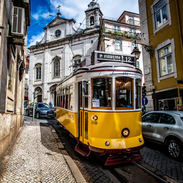 """""""Lisbon tramway network 1 (Portuguese: Rede de eléctricos de Lisboa)"""" stock image"""