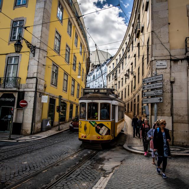 """""""Lisbon tramway network 2 (Portuguese: Rede de eléctricos de Lisboa)"""" stock image"""