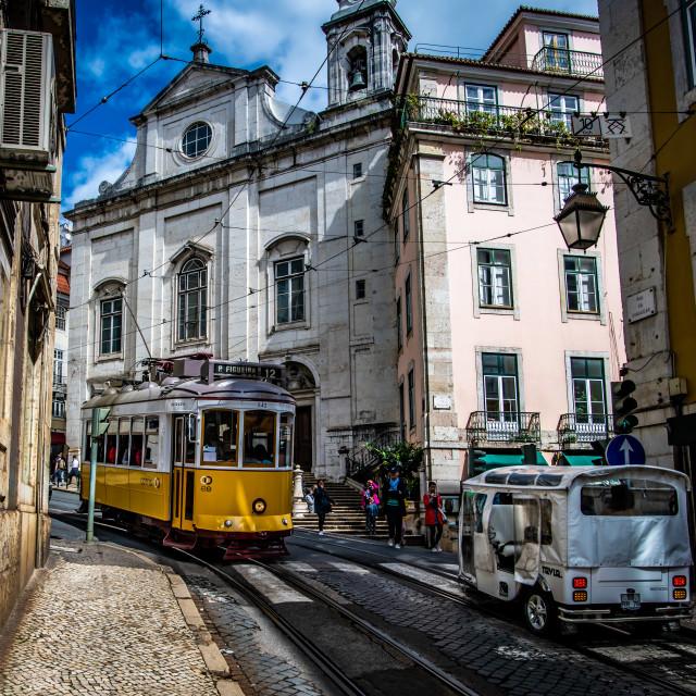 """""""Lisbon tramway network 3 (Portuguese: Rede de eléctricos de Lisboa)"""" stock image"""