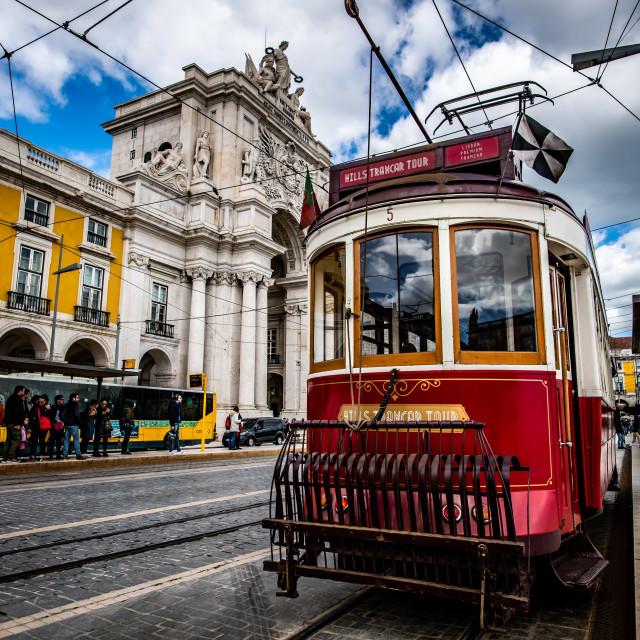 """""""Lisbon tramway network 4 (Portuguese: Rede de eléctricos de Lisboa)"""" stock image"""
