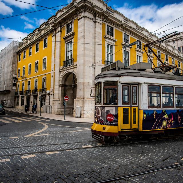 """""""Lisbon tramway network 5 (Portuguese: Rede de eléctricos de Lisboa)"""" stock image"""