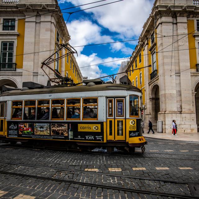 """""""Lisbon tramway network 6 (Portuguese: Rede de eléctricos de Lisboa)"""" stock image"""
