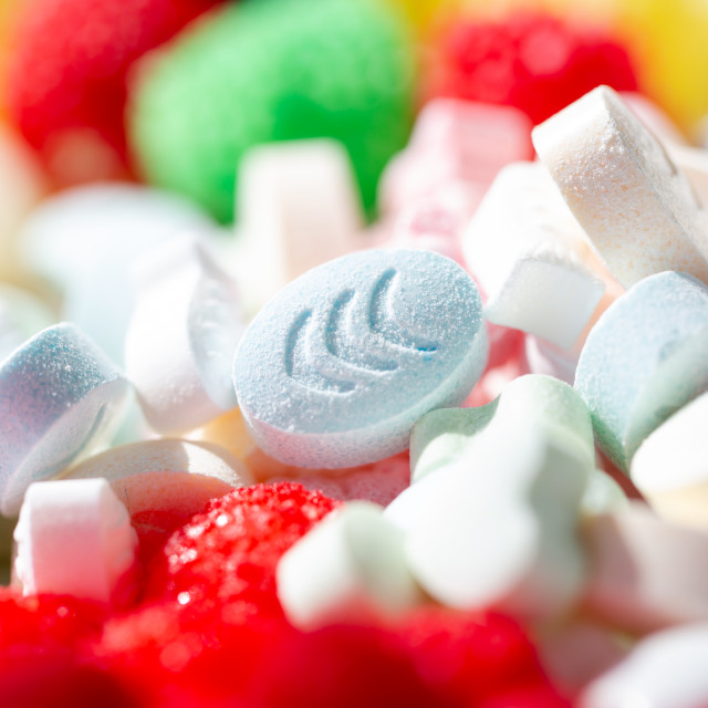 """Sweet pills and drops in vibrant various colours"" stock image"