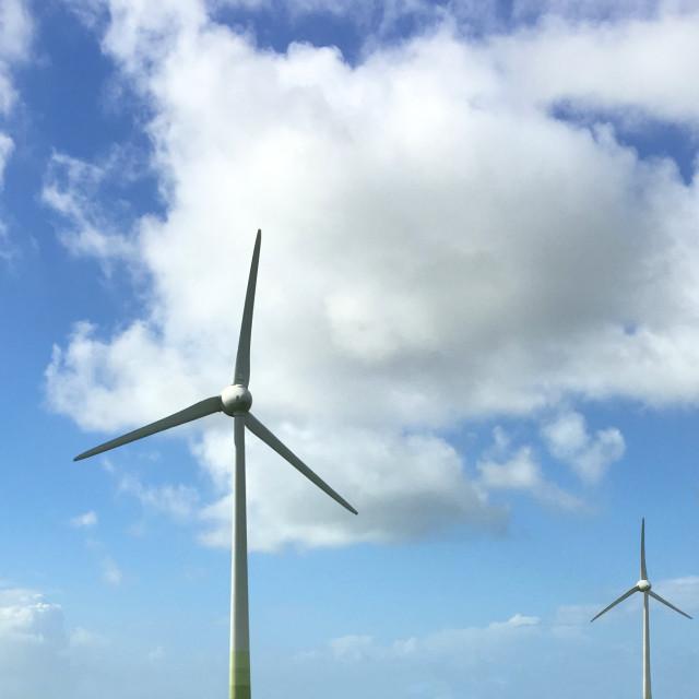 """Two Wind Turbines"" stock image"