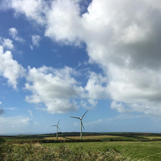 """Two Wind Turbines in Cornwall"" stock image"