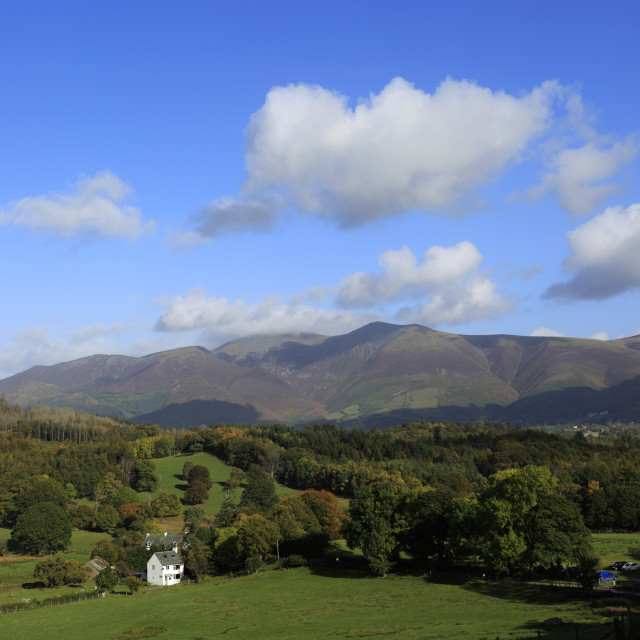 """""""Autumn view through the Newlands Valley to Skiddaw, Allerdale, Lake District..."""" stock image"""